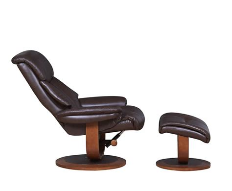 Recliner And Stool by Chingford Brown Bonded Leather Swivel Chair And Foot Stool