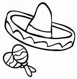 Sombrero Coloring Mexican Clip Fiesta Maracas Pages Mayo Cinco Drawing Clipart Sombreros Draw Cliparts Spanish Things Mexica Hat Printable Party sketch template