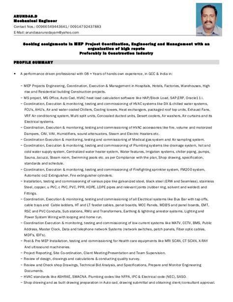 Mep Mechanical Engineer Resume Sle by Resume Mep