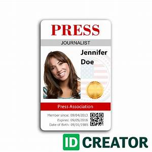 press id card order in bulk from idcreator With media pass template