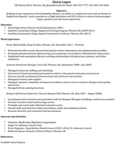 flight attendant sle resume flight attendent resume