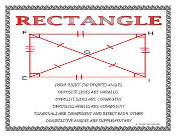 quadrilaterals properties  quadrilaterals wall posters