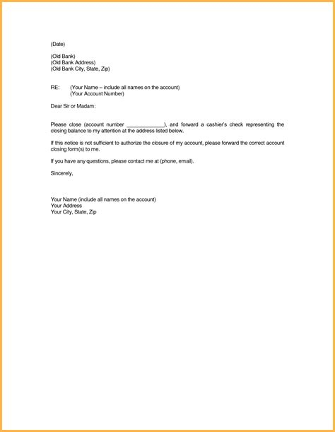 Account Closure Letter Template Letter Format For Of Bank Account Inspiration