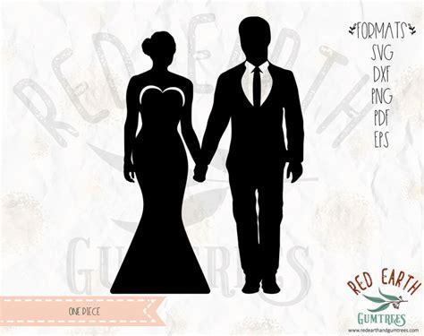 wedding bride groom silhouette wedding bride groom cake topper  svg eps  dxf png