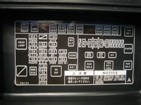 toyota address in my fuse box for 2003 highlander there is a missing