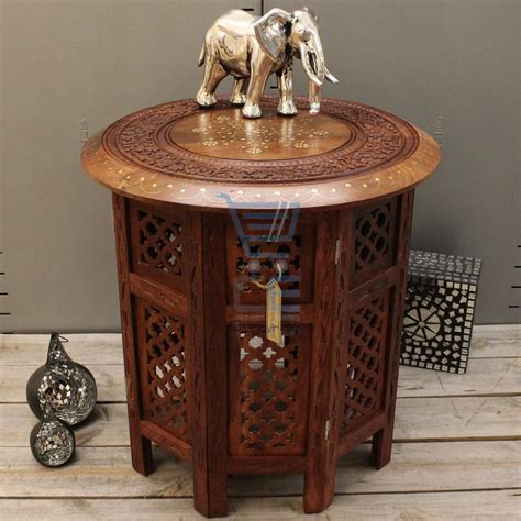 hand carved end tables small side table wooden round coffee l end brown hand