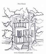 Tree Coloring Pages Treehouse Sheets Printable Houses Magic Getcolorings Rick Copies Children sketch template