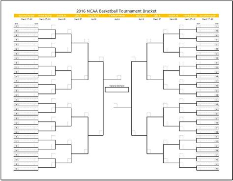 Tournament Spreadsheet Template by March Madness Tournament Bracket Template Clickstarters