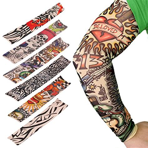 6pcs Set Arts Fake Temporary Tattoo Arm Sunscreen Sleeves