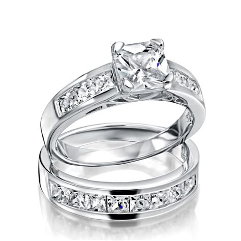 sterling silver 2ct cz princess cut engagement wedding