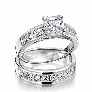 Sterling silver 2ct cz princess cut engagement wedding for Silver band wedding rings