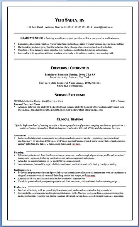 graduate nurse resume nursing resume sles for new
