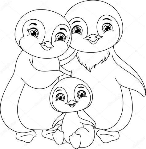 Página para colorear de pingüinos Vector de stock