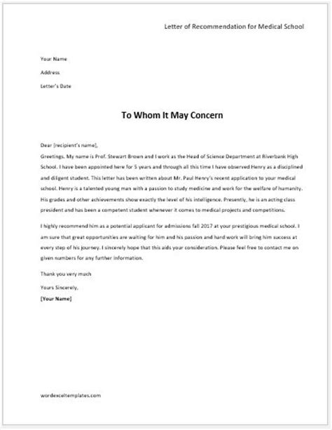 academic recommendation letters word excel templates