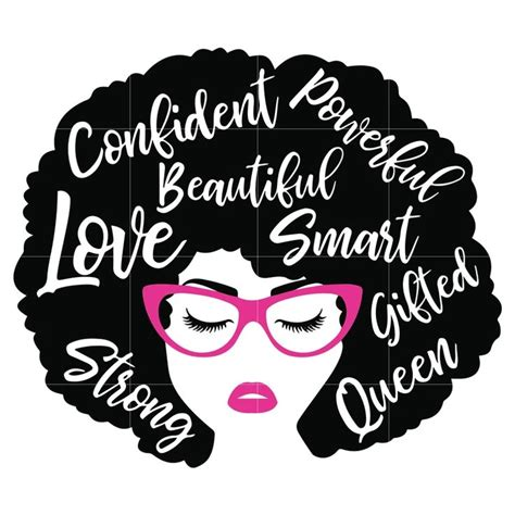 You can copy, modify, distribute and perform the work, even for commercial purposes, all. Black Woman with glasses Svg, Afro Woman Svg, African ...