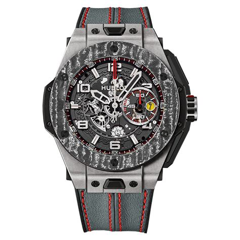 The art of fusion is expressed right through to the heart of the movement. Hublot Big Bang Ferrari 401.NJ.0123.VR Titanium Carbon Watch | World's Best