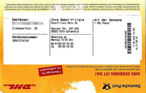 Office Size Paket file benachrichtigungskarte f 252 r dhl paket filiale jpg