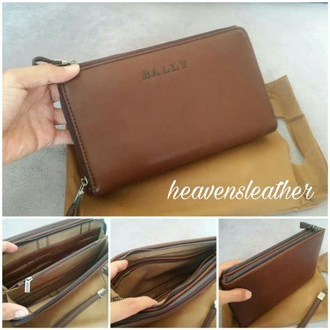 jual dompet clutch bag kulit pria import bally coklat