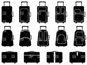 luggage - silhouettes of wheeled suitcases and trunks ...