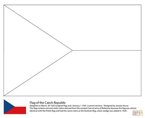 Flag Of The Czech Republic Coloring Page Free Printable
