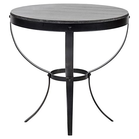 stone top side table logan industrial rustic metal stone top round side table