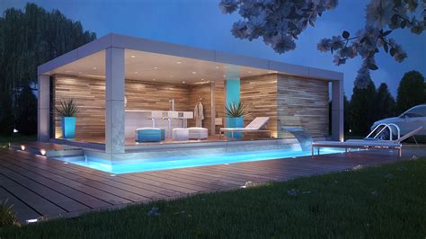 Ideas For Kitchen Lighting - modern pool house design with nice lighting howiezine