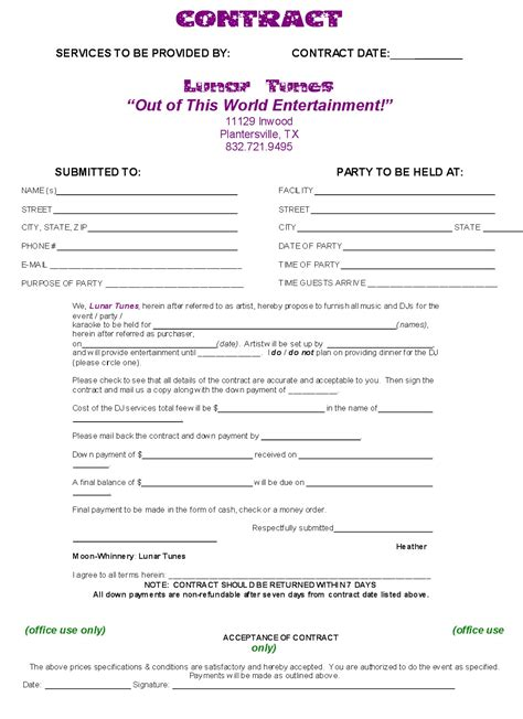 Contract Template Sle Dj Contract Agreement Free Printable Documents