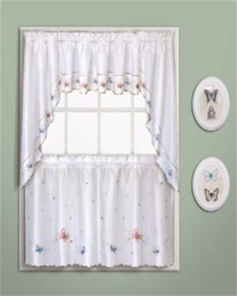 butterfly embroidered kitchen tiers valance and swags