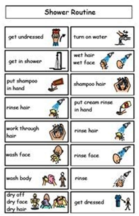 visual schedule for showering printable worksheets for personal hygiene personal