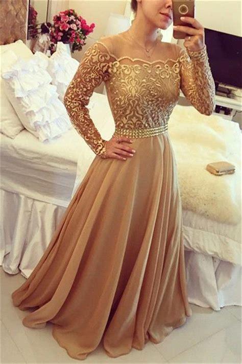 gold long sleeve evening dresses   neckline lace