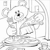 Pizza Coloring Pages Colouring Bear Teddy Printable Bears Italian Sheets Eat Books Cooking Animals Popular Craft Birthday sketch template