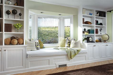 Above Kitchen Cabinet Decor Ideas - bay window seat for comfortable seating area at home