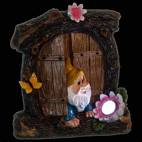 b m gnome door with solar light garden ornaments