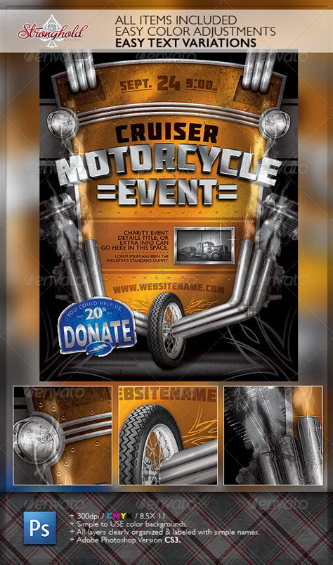 vintage motorcycle event flyer template  getstronghold