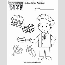 Cooking School Worksheet  Free Kindergarten Learning Worksheet For Kids