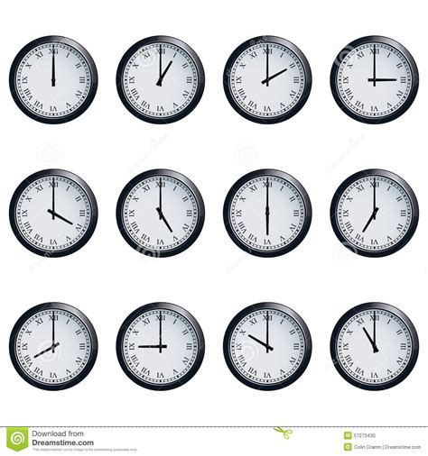 numeral clock worksheets clock set with numerals timed at each hour stock