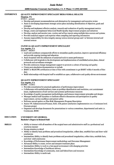 Quality Specialist Resume by Quality Improvement Specialist Resume Sles Velvet