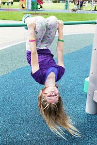 Young, Girl, Hanging, Upside, Down, At, The, Playground, Salmon
