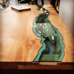 designer holztische furniture with rivers of glass running through them twistedsifter