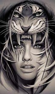 Amazing beautiful girl with tiger   Popular Girly Tattoos ...