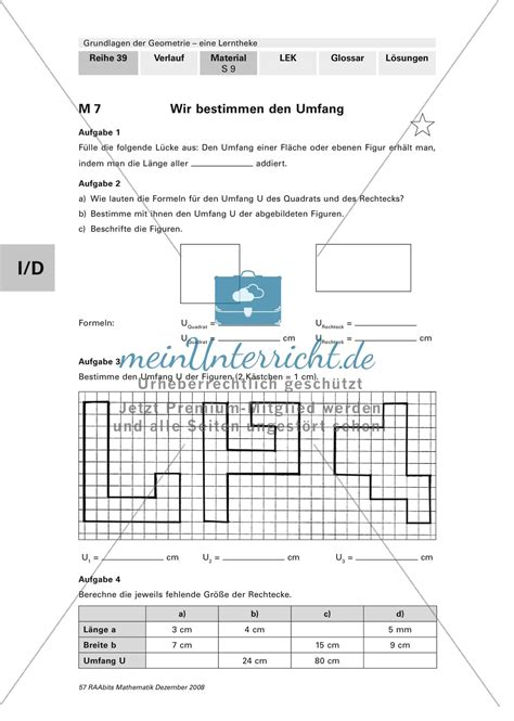 geometrie bestimmung von flaecheninhalt und umfang mit
