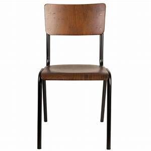 Chaise Metal Pas Cher : lot de 2 chaises vintage m tal bois scuola couleur marron ~ Teatrodelosmanantiales.com Idées de Décoration