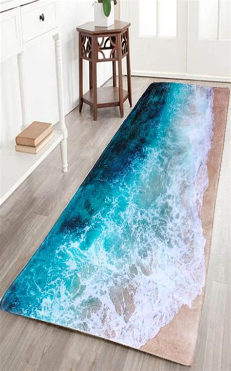 sea beach print flannel skid resistance water absorb