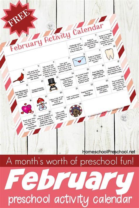 printable february preschool activity calendar
