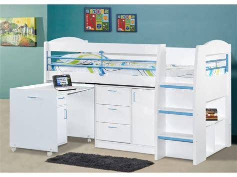 lit mezzanine bureau blanc lit combiné dido ii 90x190 cm bleu option matelas