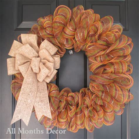 fall striped deco mesh wreath fall   months decor