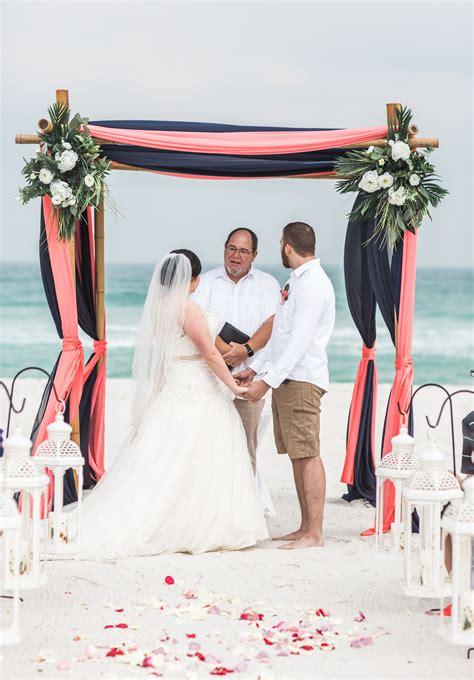 wedding arch colors coral  navy   coral