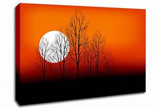 orange sunset trees landscape canvas stretched canvas With orange wall art