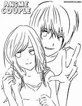Anime Couple Coloring Colorings sketch template