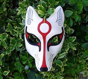Unique White Kitsune Mask... Japanese Fox Leather Mask